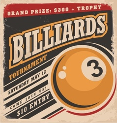 Billiards retro poster design layout vector image vector image