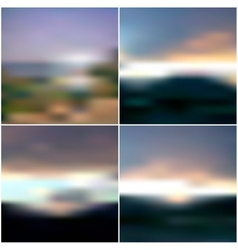 Blurred sunset backgrounds set sunrise wallpaper vector