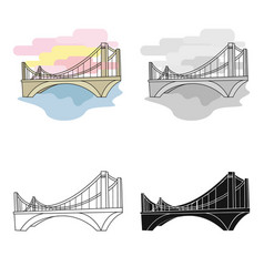 Bridge icon in cartoon style isolated on white vector