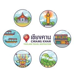 Chiang khan thailand travel destination icons vector