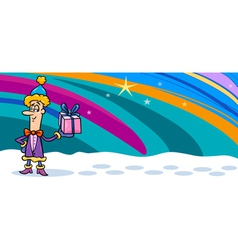 christmas elf cartoon greeting card vector image
