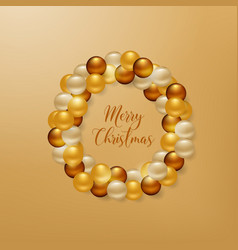Christmas wreath from golden balls background vector