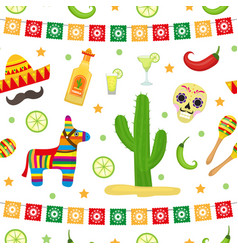 Cinco de mayo seamless pattern mexican holiday vector