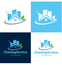 Cleaning services icon and logo vector