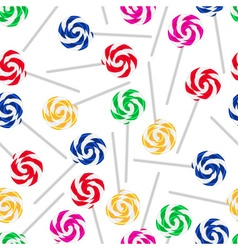 colorful sweet lollipops seamless white pattern vector image