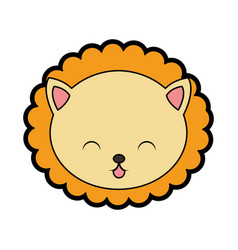Cute lion face cartoon vector