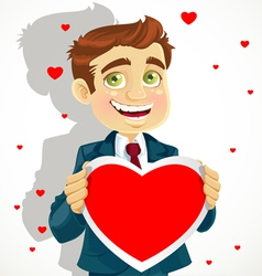 Cute man hold a valentine greeting Valentines day vector image vector image