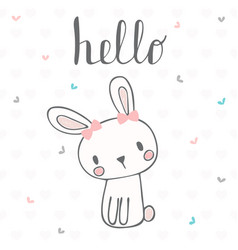 cute postcard with funny rabbit card with hello vector image