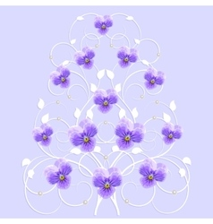 Decorative tree with violet flowers vector