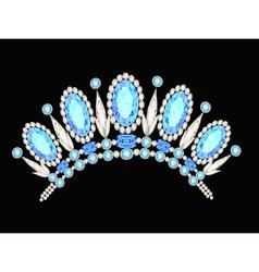 diadem crown feminine form kokoshnik with blue sto vector image vector image