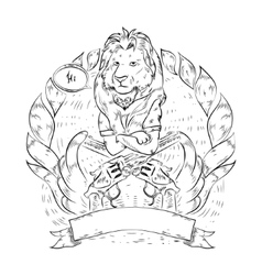 Doodle icon with lion and revolvers vector