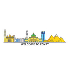 egypt outline skyline egyptian flat thin line vector image