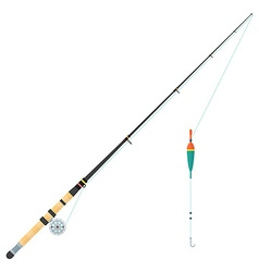 flat style float fishing rod vector image