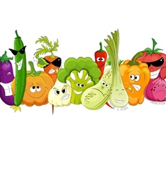 funny vegetable and spice cartoon on white vector image vector image