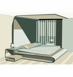 green bedroom vector image