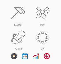 Hammer pacifier and sun icons vector