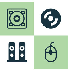 Hardware icons set collection of music control vector