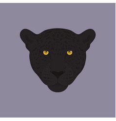 Head of a black panther with orange eyes vector