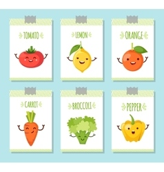Healty food cartoon representing banners set vector