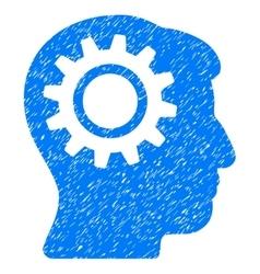Intellect gear grainy texture icon vector