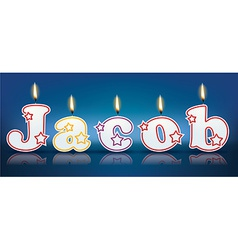 Jacob written with burning candles vector
