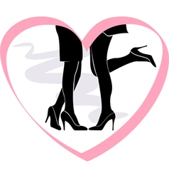 kiss lesbian couple in the frame of the heart vector image vector image