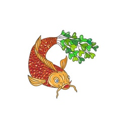 Koi nishikigoi carp fish microgreen tail drawing vector