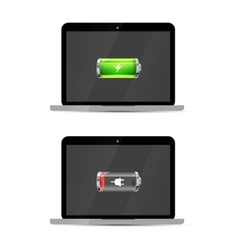 Laptops with full and empty glossy battery icons vector image vector image