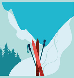 Mountains and ski equipment winter background vector
