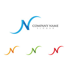 N letter logo template icon vector