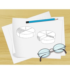 Planning Pie Chart Paper vector image