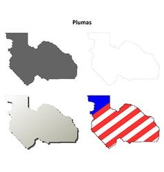 Plumas county california outline map set vector