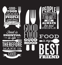 Set of vintage typographic food quotes for menu or vector