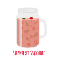 strawberry smoothie in mason jar vector image vector image