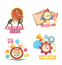 Time management retro cartoon compositions vector