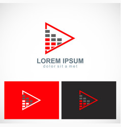 Triangle level bar business logo vector
