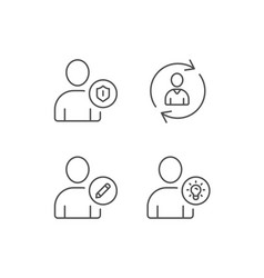 User edit profile and idea line icons vector