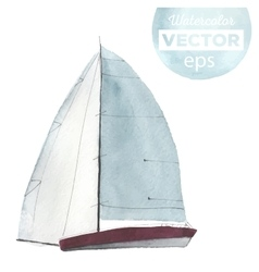 Watercolor sport yacht vector image vector image