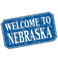 Welcome to nebraska blue square grunge stamp vector