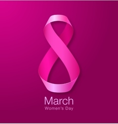 Womens Day Realistic Ribbon March 8 card vector image vector image