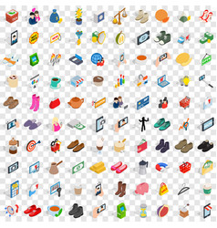 100 woman shopping icons set isometric 3d style vector