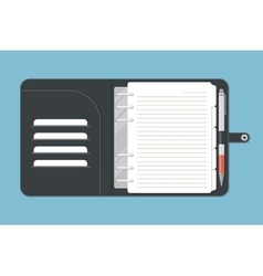 Opened notebook with pen in top view vector
