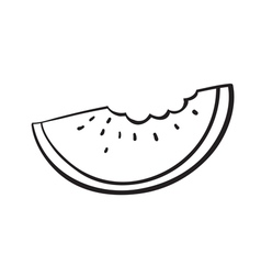 a watermelon slice sketch vector image