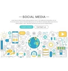 Modern line flat design social media vector