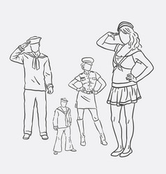 Sailor costume hand drawing style vector