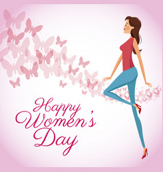 Happy womens day card butterfly decorated vector