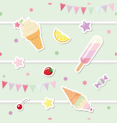 Festive seamless pattern with sweets and garlands vector