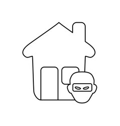 Line house with thief danger symbol vector