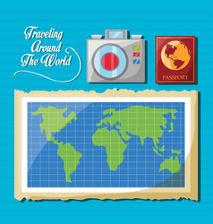 Global map with camera and passport vector