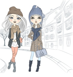 Beautiful fashion girls in autumn and winter cloth vector